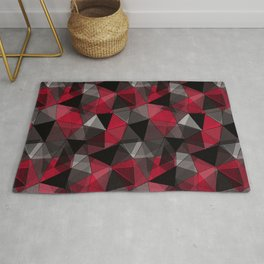 Abstract polygonal pattern.Red, black, grey triangles. Rug