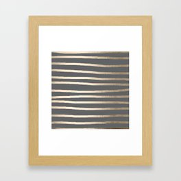 Simply Drawn Stripes White Gold Sands on Storm Gray Framed Art Print
