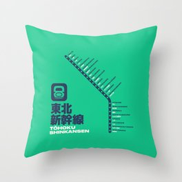 Tohoku Shinkansen Train Station List Map - Green Throw Pillow