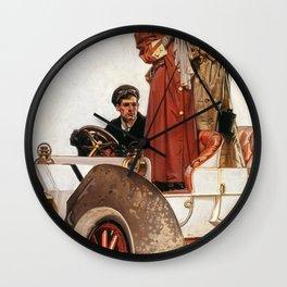 Joseph Christian Leyendecker - Lady And Car - Digital Remastered Edition Wall Clock