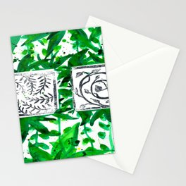 vegetal watercolor and linosculpting Stationery Cards