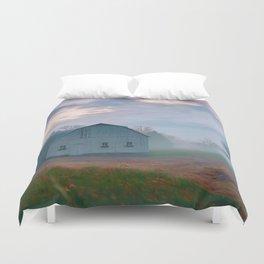 Foggy Morning Barn Duvet Cover
