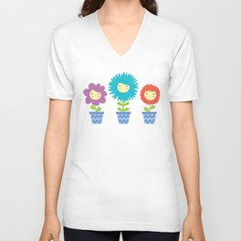 Happy Flowers Unisex V-Neck