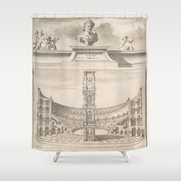 Vintage Roman Colosseum Illustrative Diagram Shower Curtain