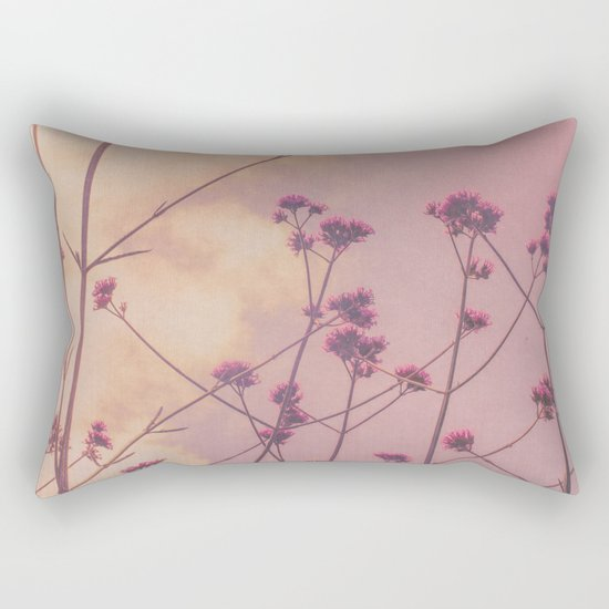 Vintage Pink Wildflowers with Dusty Purple Sky Background Rectangular Pillow