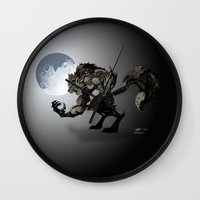 werewolf Wall Clocks featuring Werewolf by Michelena