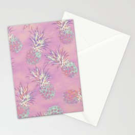 Pink Pineapple Pattern Stationery Cards