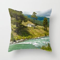 house at the mountain river Throw Pillow