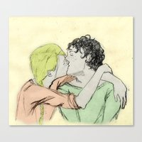 les mis Canvas Prints featuring JehanxCourfeyrac Les Mis by Pruoviare