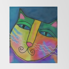 Colorful Abstract Cat Digital Painting  Throw Blanket