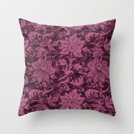 Burgundy Turquoise Velvet Floral Pattern 03 Throw Pillow