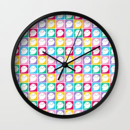 Colourful Little Ghosts Wall Clock