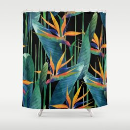 Watercolor Painting Tropical Bird of Paradise Plants large Shower Curtain