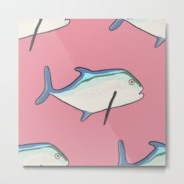 Bluefin Trevally Tropical Fish Metal Print