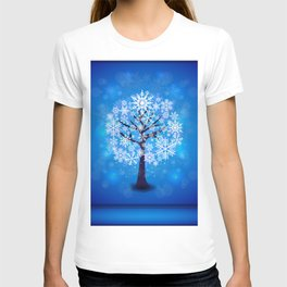 Snowflakes tree background T-shirt