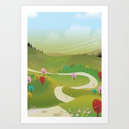 Cartoon hilly landscape Art Print
