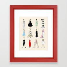 Audrey Fashion Vintage Retro in Cream Framed Art Print