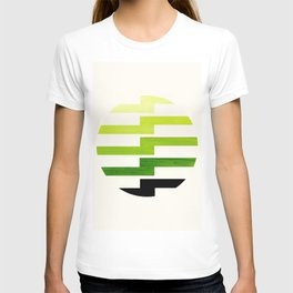 Minimalist Mid Century Circle Frame Sap Green Zig Zag Colorful Lightning Bolt Geometric Pattern T-shirt