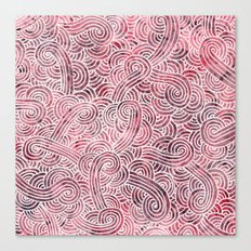 Burgundy red and white swirls doodles Canvas Print