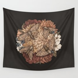 Flowers and Moths Wall Tapestry