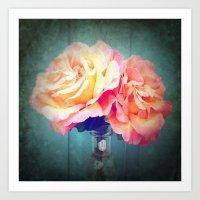 vintage flowers Art Prints featuring Vintage Flowers by 2sweet4words Designs