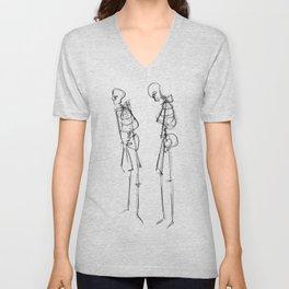 Black Ink Illustration of Two Human Skeletons Unisex V-Neck