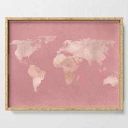 Rosegold World Map Sans Type Serving Tray