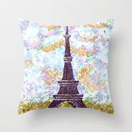 Eiffel Tower Pointillism by Kristie Hubler Throw Pillow