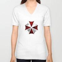 resident evil V-neck T-shirts featuring Resident Evil Umbrella Corporation by Liquidsugar