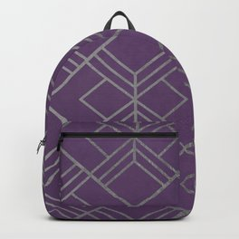 Geometrical faux silver violet abstract motif Backpack