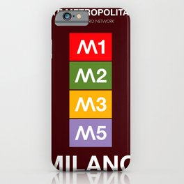 Milan metro map, Bob Noorda, Massimo Vignelli, subway alphabet map iPhone Case