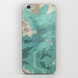 Vintage Green Transatlantic Mapping iPhone Skin