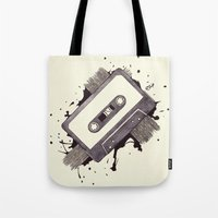 cassette Tote Bags featuring Cassette by One Curious Chip