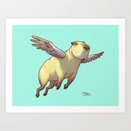 Flying Capybara Art Print