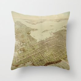 Vintage Pictorial Map of Newport RI (1878) Throw Pillow