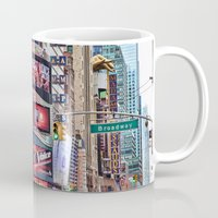 broadway Mugs featuring Broadway, NYC by June Marie