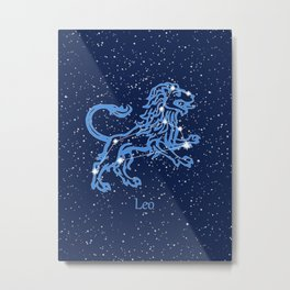 Leo Constellation and Zodiac Sign with Stars Metal Print