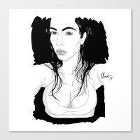 kim kardashian Canvas Prints featuring Selfish Kardashian by vllancourt