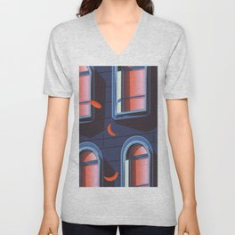 NYC Brownstone in the fall Unisex V-Neck