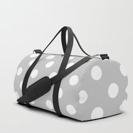 Polka Dots (White & Gray Pattern) Duffle Bag