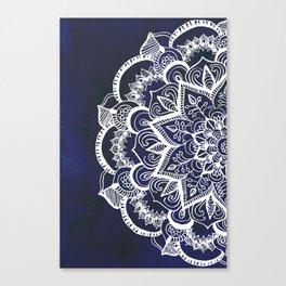 White Feather Mandala on Navy Canvas Print