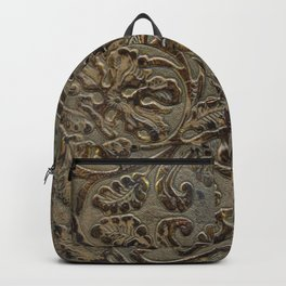 Olive & Brown Tooled Leather Backpack