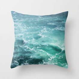 Sea Waves | Seascape Photography | Water | Ocean | Beach | Aerial Photography Throw Pillow