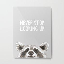 Never Stop Looking Up Raccoon Metal Print