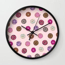 Artsy Pink Sprinkle Donuts Watercolor Pattern Wall Clock