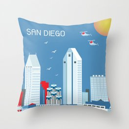 San Diego, California - Skyline Illustration by Loose Petals Throw Pillow