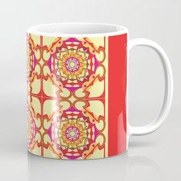 World Citizen Mandala Tiled - Red Yellow Coffee Mug