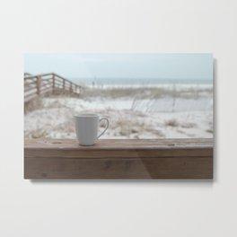 Cuppa at the Beach Metal Print