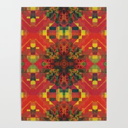 Red Pattern with little  Mandala Poster