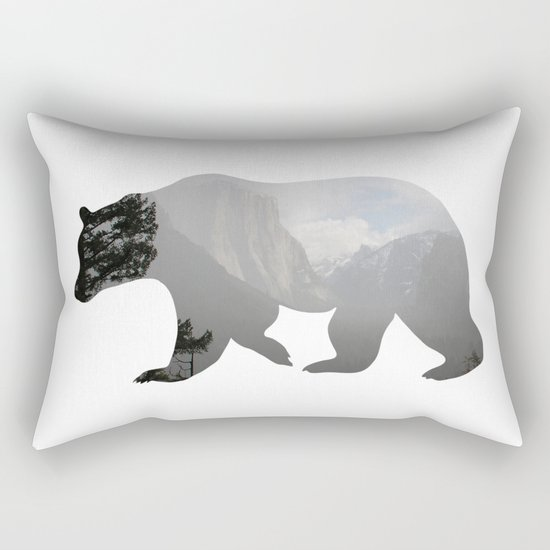 Grizzly Bear with Yosemite Photo Inlay Rectangular Pillow
